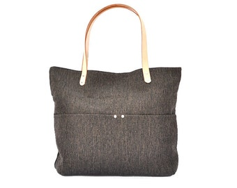 Big Sale----Linen Tote, Beach Bag, Simple Tote Bag for Women, Market tote Bag with Genuine Leather strap.