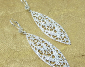 Sterling Silver Brass Lace Filigree Earrings Marquise Dangles Drops Mothers Day Gift