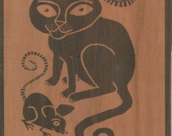 Cat and Mouse. B/W print on wood.