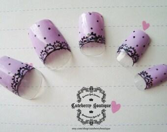 Kawaii Sweet Lolita Fake Nails, Pastel Nails, Fairy Kei Nails, Purple Lavender Nails, Fake Nail Set