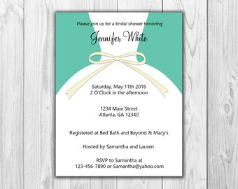 Bridal Shower Invitations - Dress in Teal (8 Count with Envelopes)