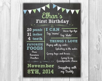 Blue and Green or Red and Blue Chalkboard Birthday Stats | Digital File