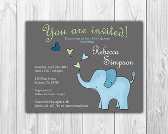 Blue and Green Elephant | Baby Boy Shower (8 Invitations and 8 Envelopes)