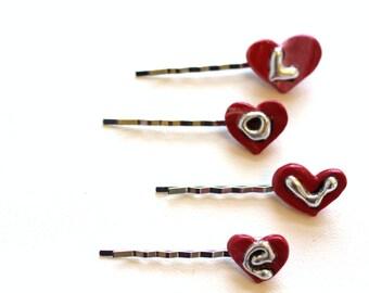 Valentines Day Hair Pins,Teeny Tiny Heart Hair Pins, Heart Bobby Pins, Hair Pins for Side Bangs, Updos, Hair Fashion,Love HairPins for Girls
