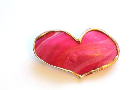 Hair Barrette Womens Heart Barrette Pink Red Gold Hair Barrette French Clip Barrette Large Heart Hair Clip Valentines Hair Clip Romantic