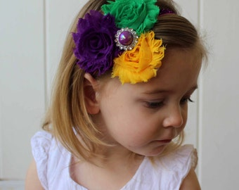 Shabby Chic Mardi Gras Headband in Purple, Green and Gold, Baby, Child, Toddler, Adult Mardi Gras Carnival Headband