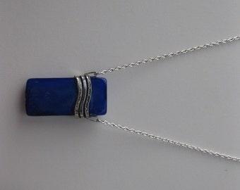 Blue Glass tile Chain necklace