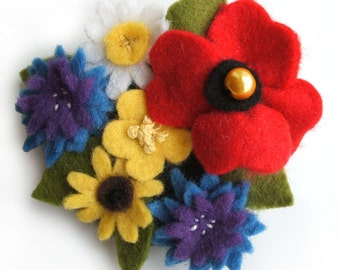 Wildflower Felt Brooch, Cornflower, Poppy, Buttercup, Daisies Flower Brooch, Felt Flowers Pin, Floral Jewellery, Unique Gift For Her