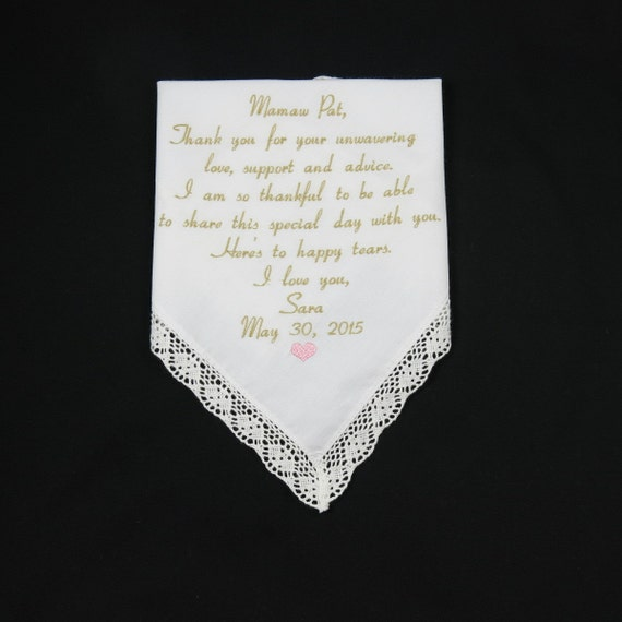 Wedding Gifts For Mom From Bride : Embroidered Handkerchiefs Wedding gifts for Mom of the Bride Groom ...