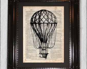 Hot Air Balloon, Dictionary Art Print, Upcycled Book Art, Silhouette, dictionary page Wall Decor, Wall Hanging, Mixed Media Art