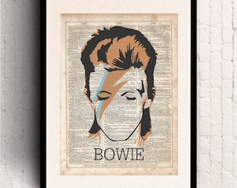 David Bowie Minimalist Poster, Dictionary Art Print, Prints on Dictionary Paper, Silhouette, dictionary page, Wall Hanging, Dictionary Print
