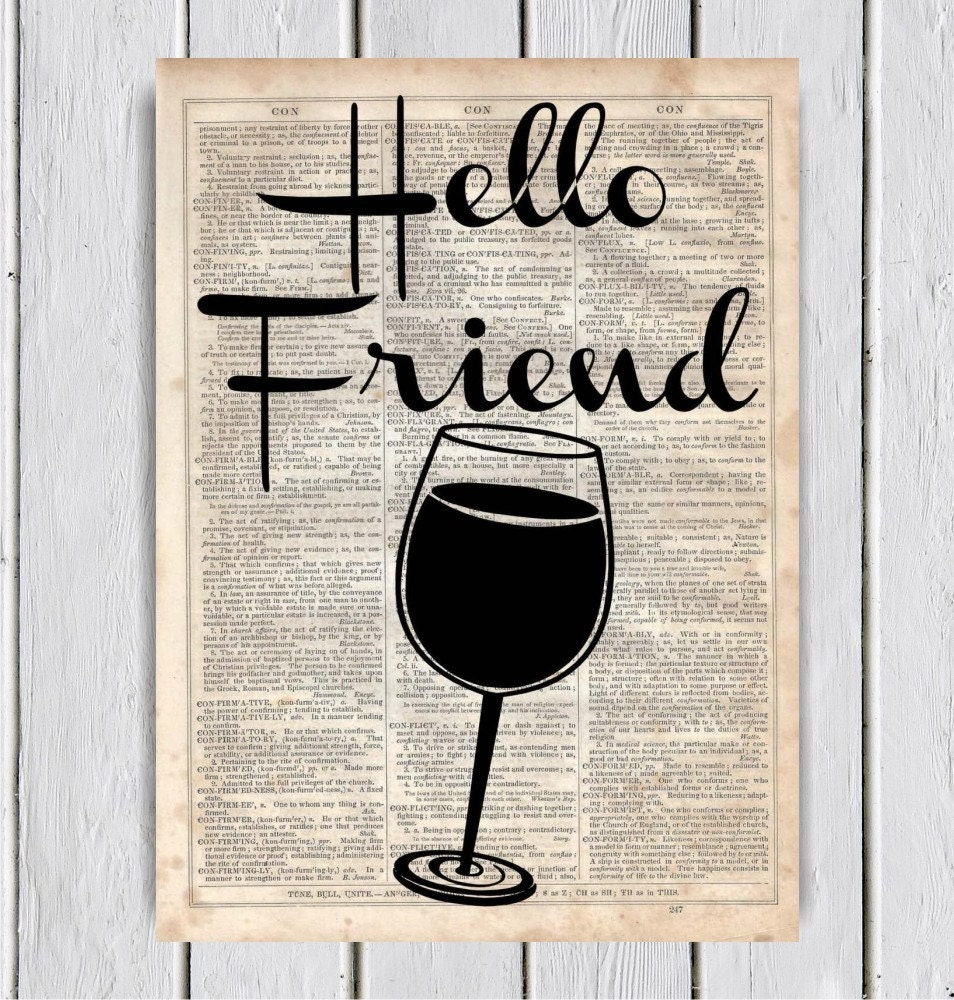 hello friend wine kitchen decor dictionary by mysilhouetteshoppe