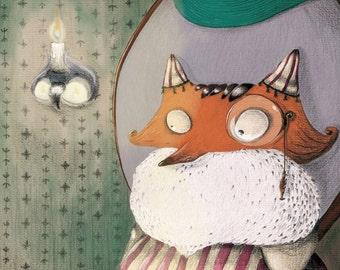Printed illustration portrait fox theater - purple green - Isidor