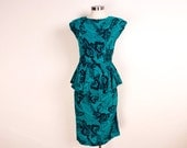 Vintage Green and Black Cotton Sundress