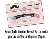 "Qty. 25 Gender Reveal Party Invitations ""Stashes or Lashes"""