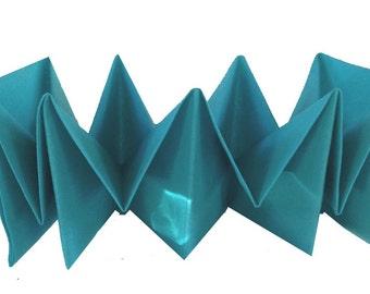 Blue teal Pre-Folded Linen Like Paper Napkins Dinner fancy table settings buffet