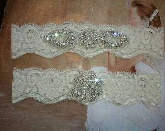 Wedding Garter, Bridal Garter, Garter Set - Crystal Rhinestone on a  Ivory Lace - Style G2046