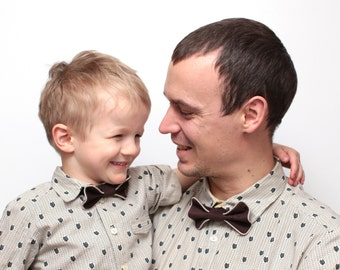 Matching Father and son bow tie set Corduroy bow ties with contrasting trim
