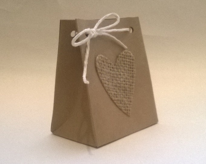 Handmade Heart Gift Bag, Made to order, Wedding Favour, Free Shipping