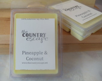 Pineapple & Coconut  Scented 100% Soy Wax Melt - Tropical Scent - Maximum Scented