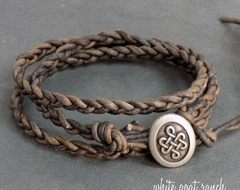 Braided Leather Bracelet, Natural Grey Leather, Wrap Bracelet