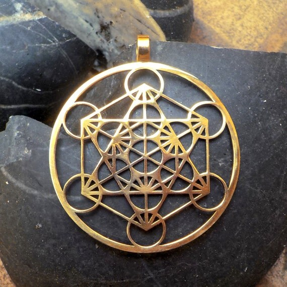 Metatron 39 s cube pendant 1 3 4 brass by floweroflife9 on etsy for Metatron s cube jewelry