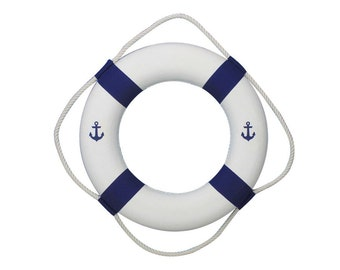 Anchor Lifering with Blue Bands / Classic White Decorative