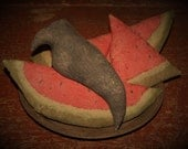 Watermelon, Primitive Bowl fillers, Watermelon Bowl Fillers, Primitive Crow, Crow Doll, Crow Bowl Filler, Vintage TinPlate, OFG, HAFAIR FAAP