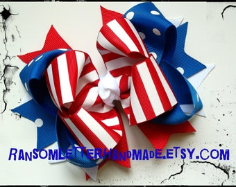 Blue Red Stripes Hair Bows Patriotic Outfits July 4th Hair Bows USA Ribbon Red White Blue Bow