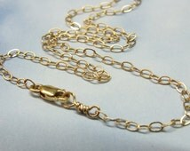 """15-37"""" Solid 14k Gold Chain, 1.9 mm Cable Chain and Lobster Claw, 14k Solid Gold, Solid Gold Layer Chain, 14k Real Gold Pendant Chain"""