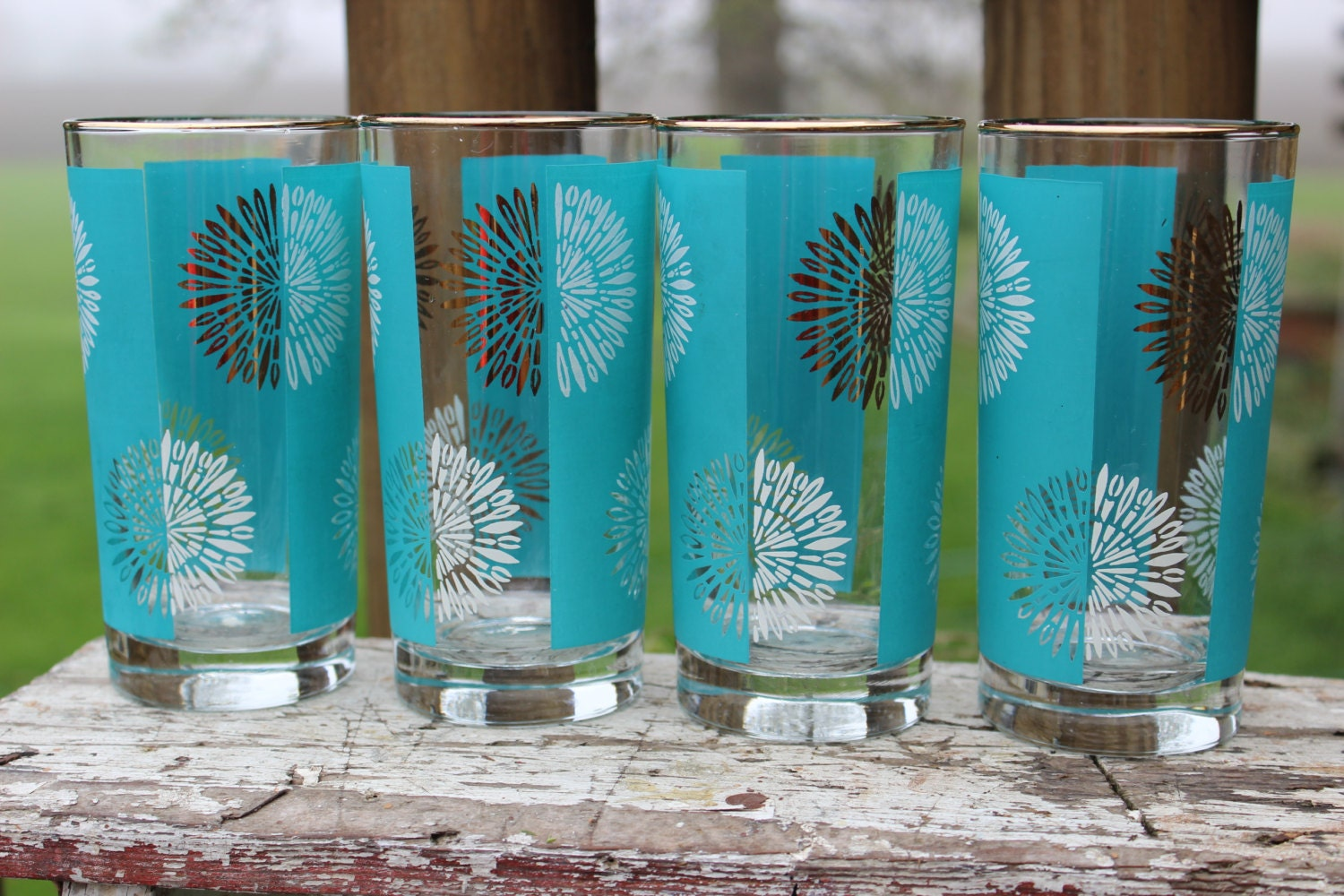 7 vintage atomic starburst barware glasses retro bar glasses - Starburst glassware ...