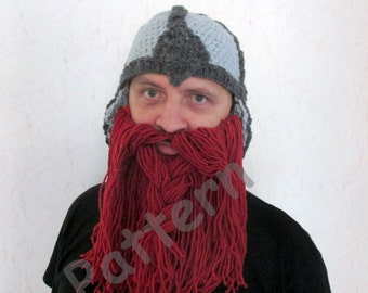 Crochet Viking hat pattern  Crochet Beard hat Pattern  adult size , crochet hobbit hat pattern