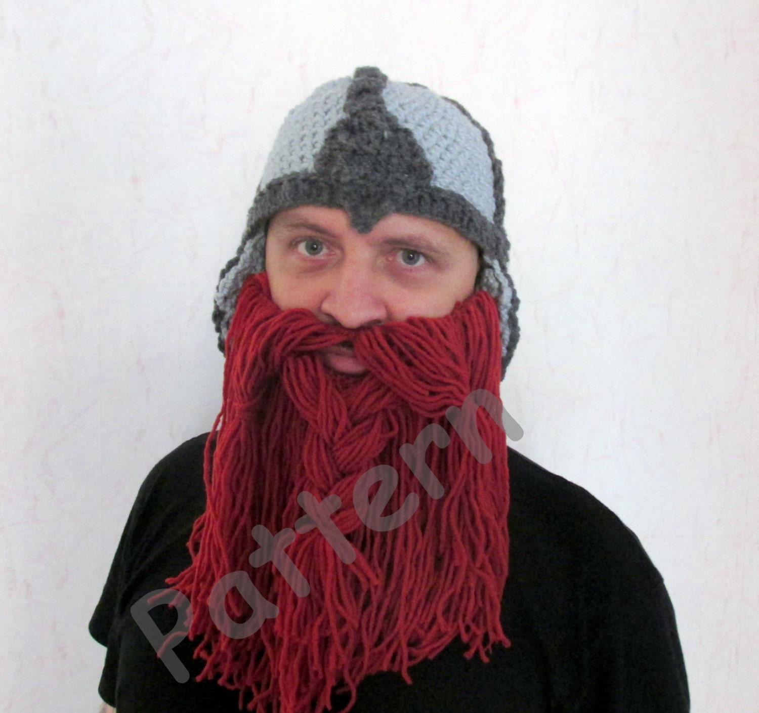 Crochet Viking hat pattern Crochet Beard hat Pattern adult