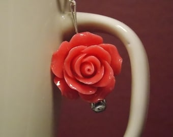 Big hot pink rose earrings