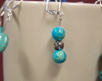 Light Blue Earrings with silver pieces