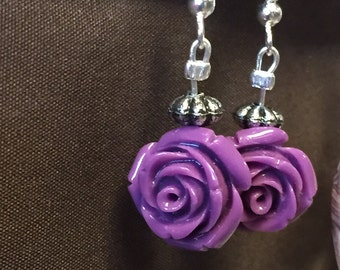 Epilepsy Awareness rose earrings