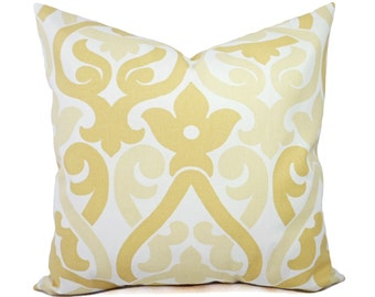 Two Yellow Trellis Decorative Pillow Covers - Saffron Yellow and White Pillows - Yellow Pillow Cover - Trellis Pillows - Yellow Pillows