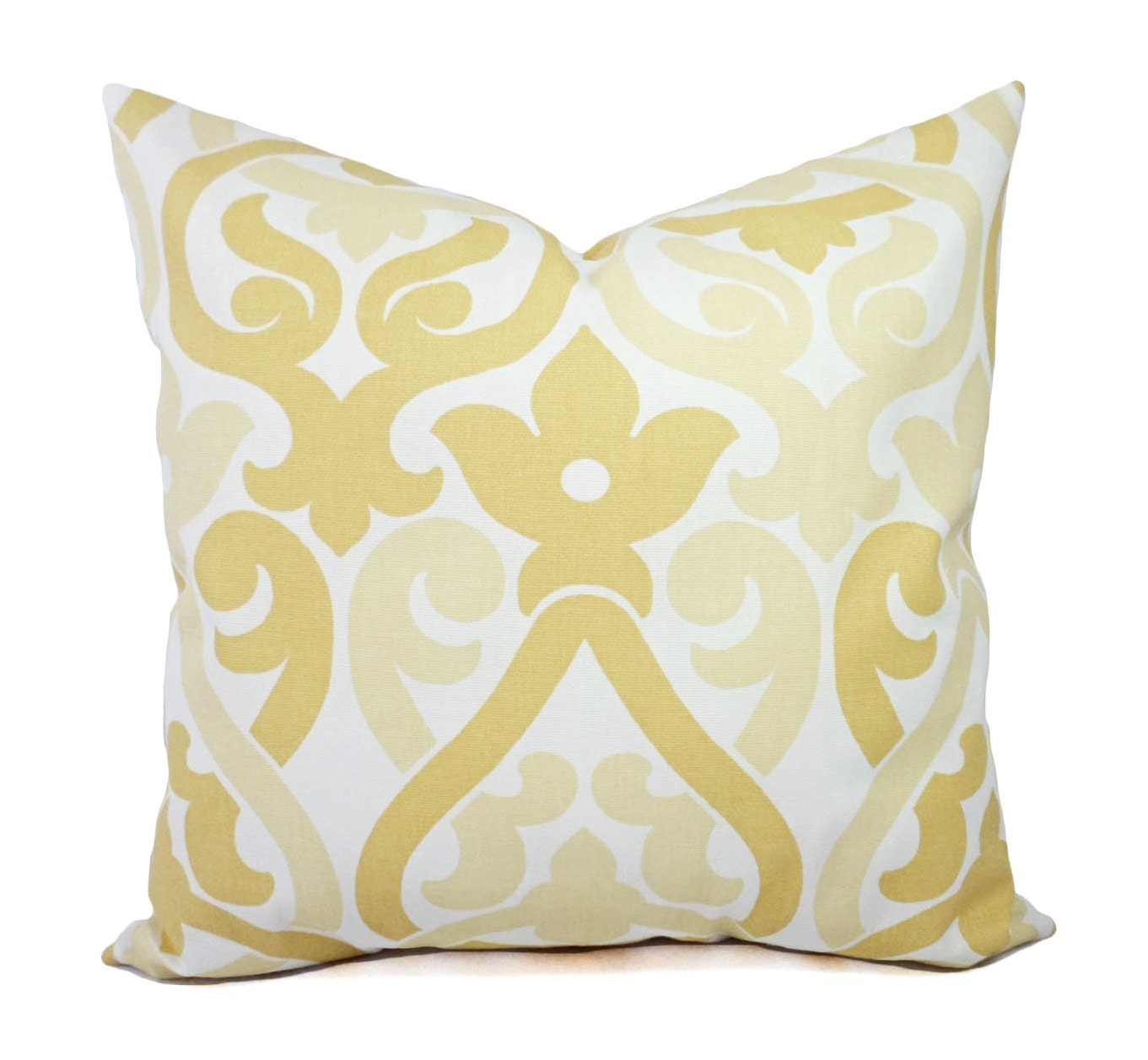 Two Yellow Trellis Decorative Pillow Covers Saffron Yellow