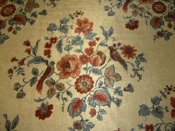 Retro Upholstery Fabric Cut Velvet Floral Bird Design Blue