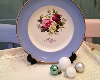 Vintage decorative plate entitled Mother that can be used as wall art made in bone china