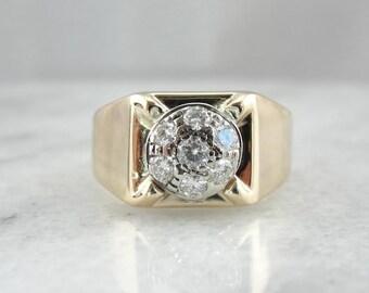 Vintage Retro Era Mens Diamond Ring F6Q22Z