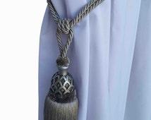 Silver Curtain Drapery Decorative Wood/Tassel Double Rope TieBack Hand Crafted Home Decor/Window Treatments Drape Holding/Holdback/Pull Back