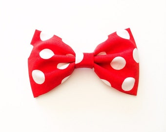 Red and white polka dot bow minnie mouse bow christmas bow dots bow