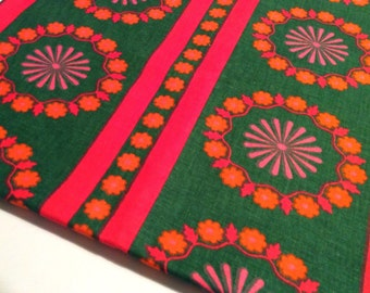 60s vintage fabric. Mod floral Scandinavian design. Lovely colors and pattern.