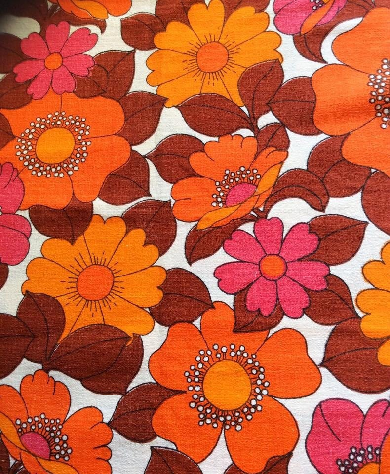 Fab 60s Artwork: 60s Mod Floral Fabric Swedish Bold Pattern In Great Condition