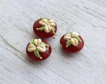 Handmade Lampwork Glass Bead Set - 'Deep Red Lentils' SRA - 3 beads - E100