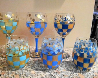 Hand Painted Wine Glasses, Water Goblets, Glassware, Iced Tea Glasses, Set of 6