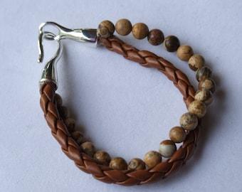 Jasper and leather bracelet 0073fb