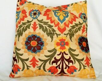 "Decorative throw pillow cover lumbar pillow in Santa Maria adobe fabric by Waverly 14x14 16X16"" 18x18"" 20x20"" 22x22"" toss pillow"
