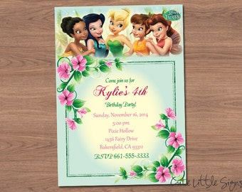 Tinkerbell and Friends Birthday Invitation Digital Download